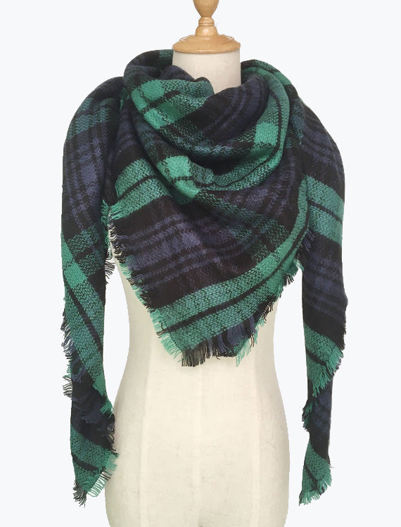 Autumn Vibers Plaid Blanket Scarf In Green