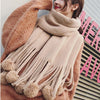 Pom Pom Brushed Long Fringed Scarf