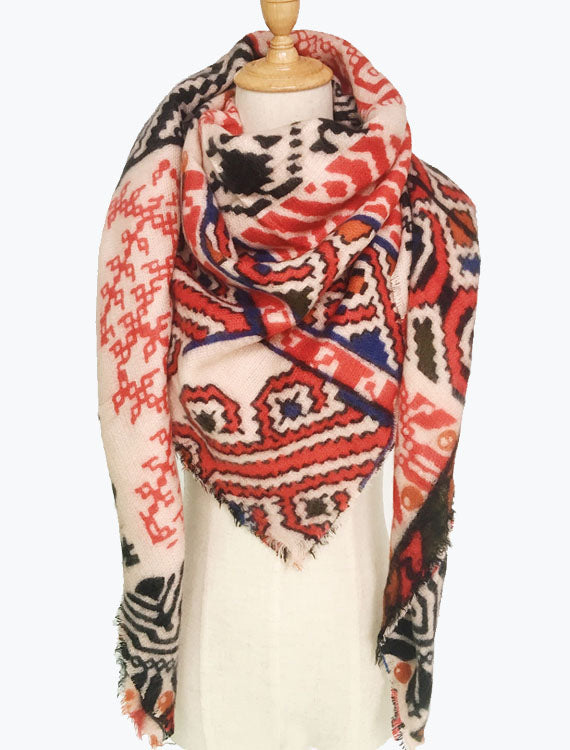 Red Print Blanket Scarves