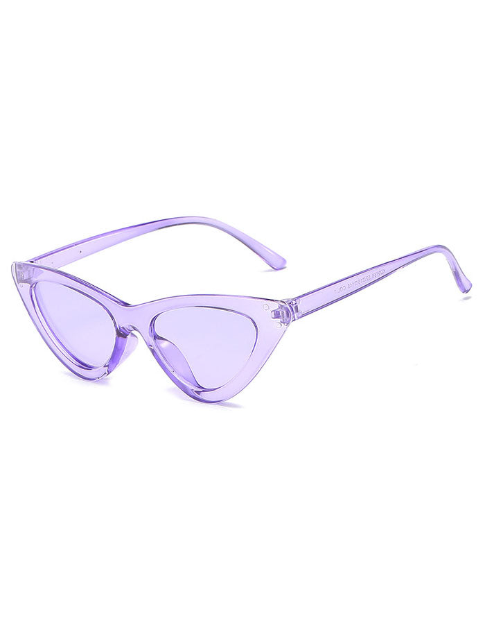 Retro 90's Cat Eye Clear Frame Sunglasses Purple