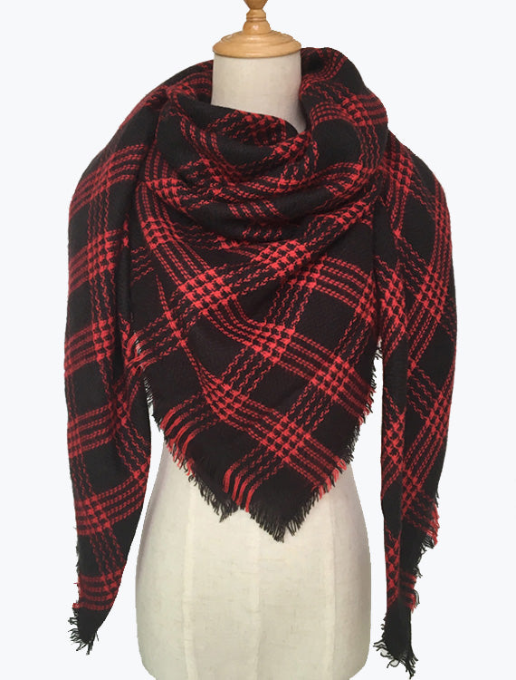 Red Black Plaid Blanket Scarf
