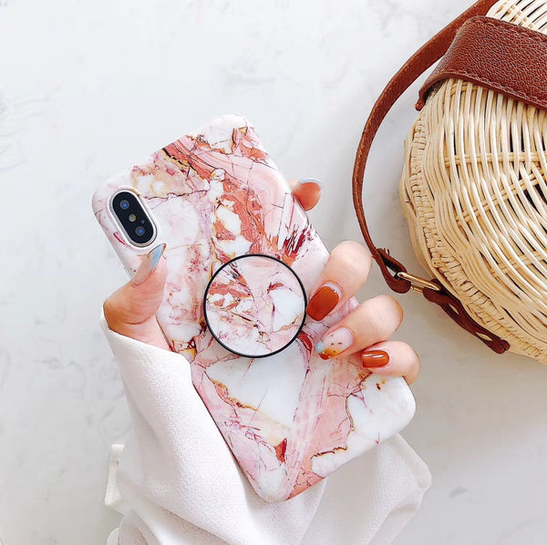 Bright Pink Marble iPhone Cases with Popup Mounts Holders