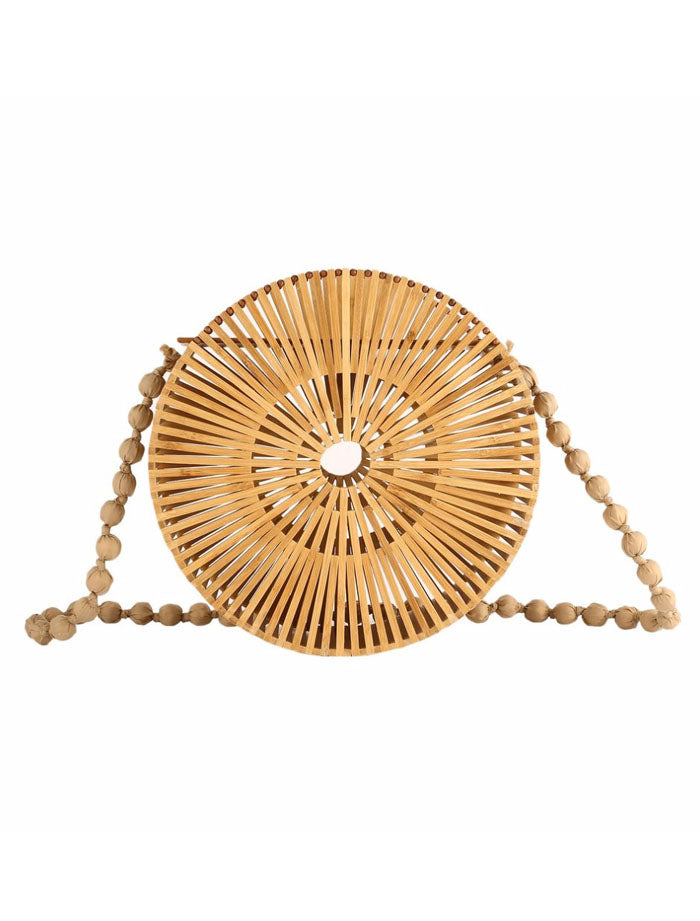 Round Bamboo Clutch Bags Natural