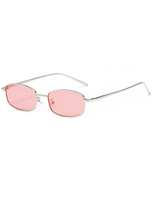 Retro 1990's Rectangle Flat Lens Sunglasses Pink