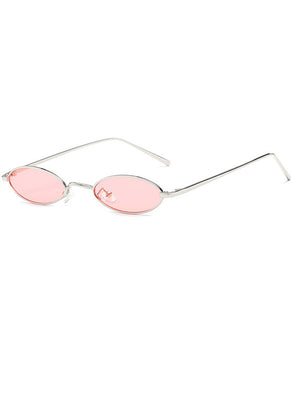 Retro 90's Small Oval Metal Flat Lens Sunglasses
