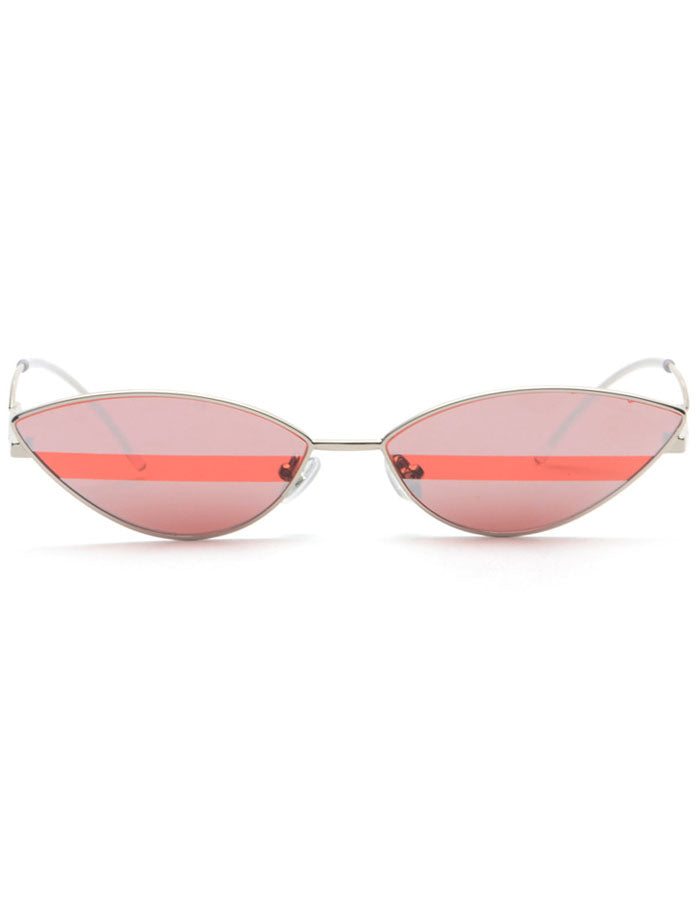 Retro 90's Cat Eye Mirrored Sunglasses Red