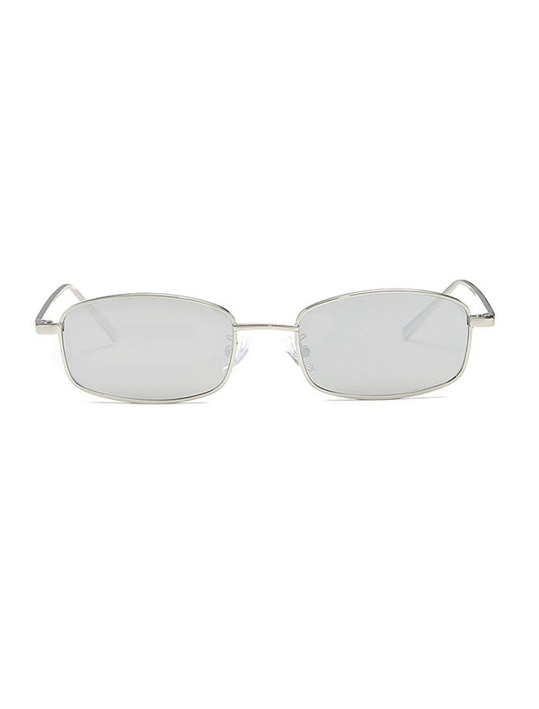 Retro 1990's Rectangle Mirrored Lens Sunglasses