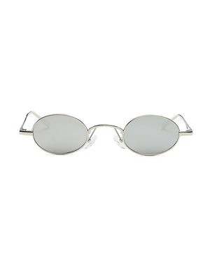 Retro 1990's Small Oval Round Mirrored Sunglasses