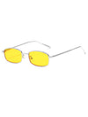 Retro 1990's Rectangle Flat Lens Sunglasses Yellow