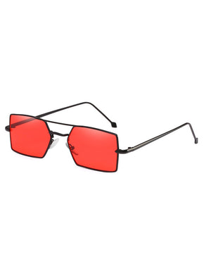 1990s Vintage Small Rectangle Red Colored Tinted Sunglasses