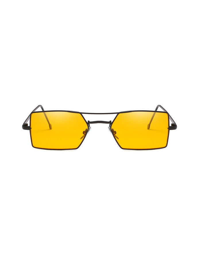 1990s Vintage Yellow Small Rectangle Sunglasses