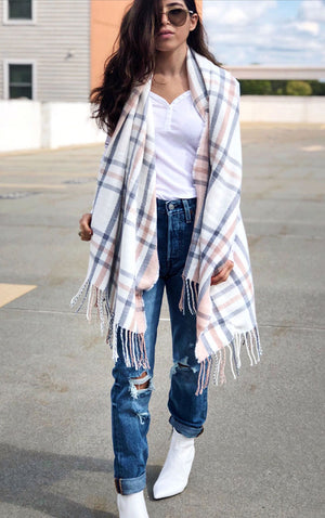 Soft Plaid Fringed Scarf in Blush Pink