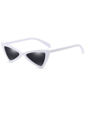 Retro Triangle 90s Cat Eye Sunglasses White