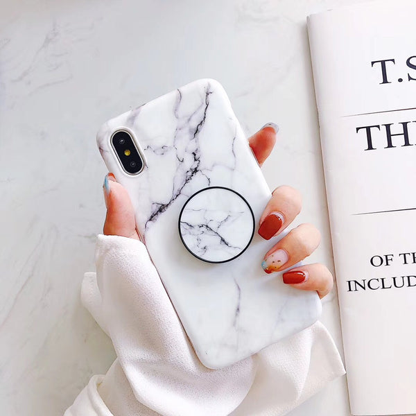 White Marble iPhone Cases with Popup Holders
