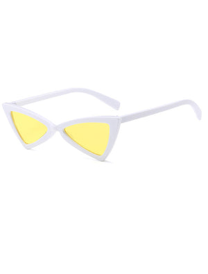 90s Retro Triangle Cat Eye Yellow Colored Sunglasses