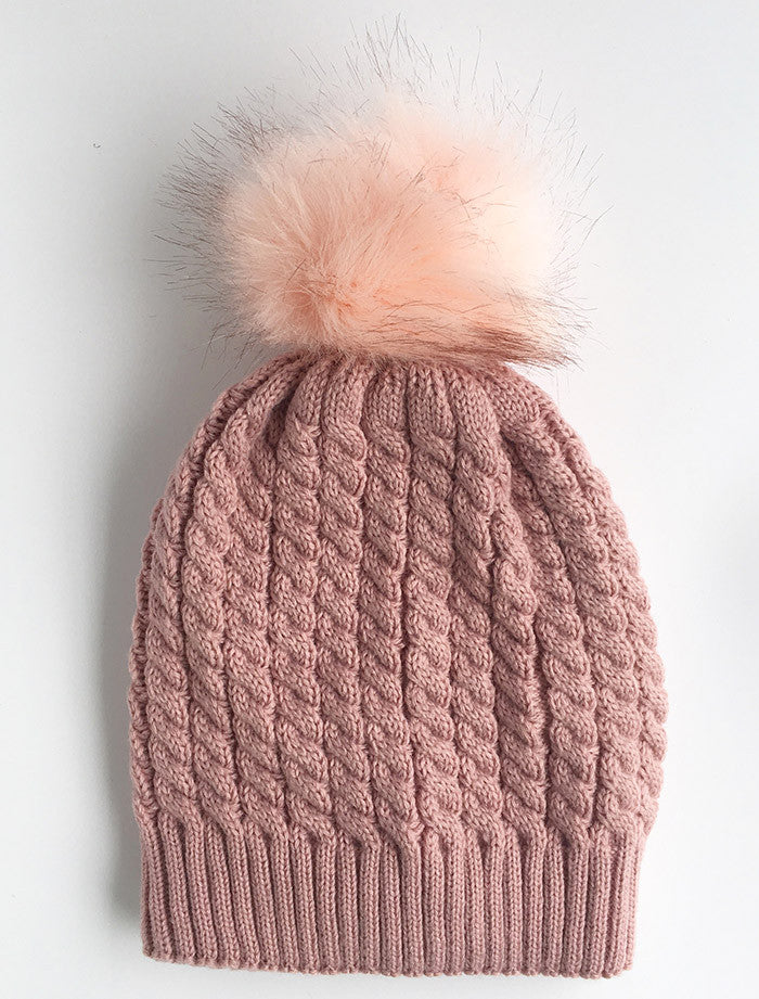 Twisted Knit Beanie with Faux Fur Pom Pom | Pink