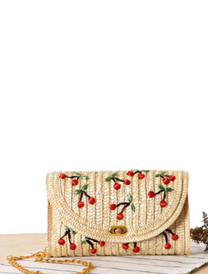 Cherry Woven Straw Cross Body Bag