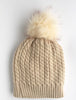 Twisted Knit Beanie with Faux Fur Pom Pom | Ivory