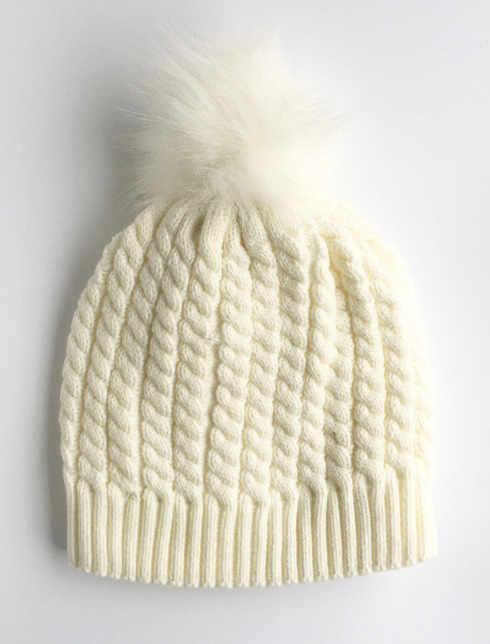 Twisted Knit Beanie with Faux Fur Pom Pom | White