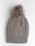 Twisted Knit Beanie with Faux Fur Pom Pom | Gray