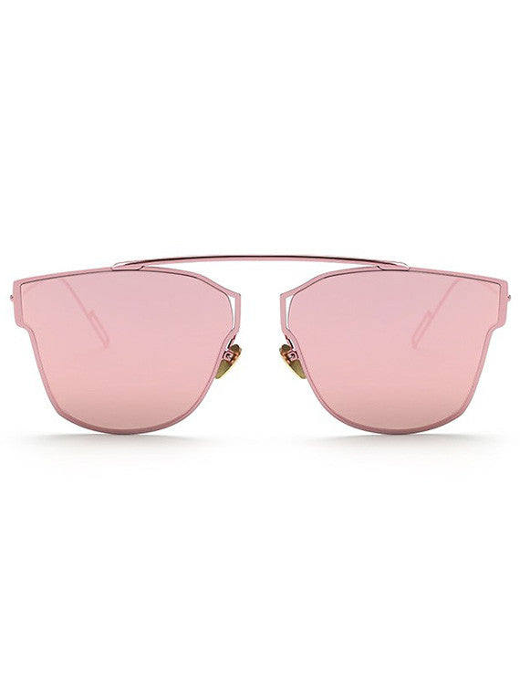 Modern Metal Mirrored Lens Pantos Sunglasses