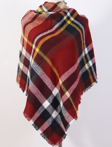 Plaid Tartan Blanket Scarf Wine
