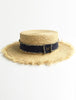 Straw Boater Hats Denim Band
