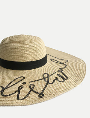 "Sequined ""do not disturb"" Floppy Sun Hats Natural"