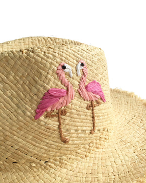 Flamingo Embroidered Straw Panama Hats