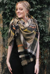 Olive Green Plaid Blanket Scarf