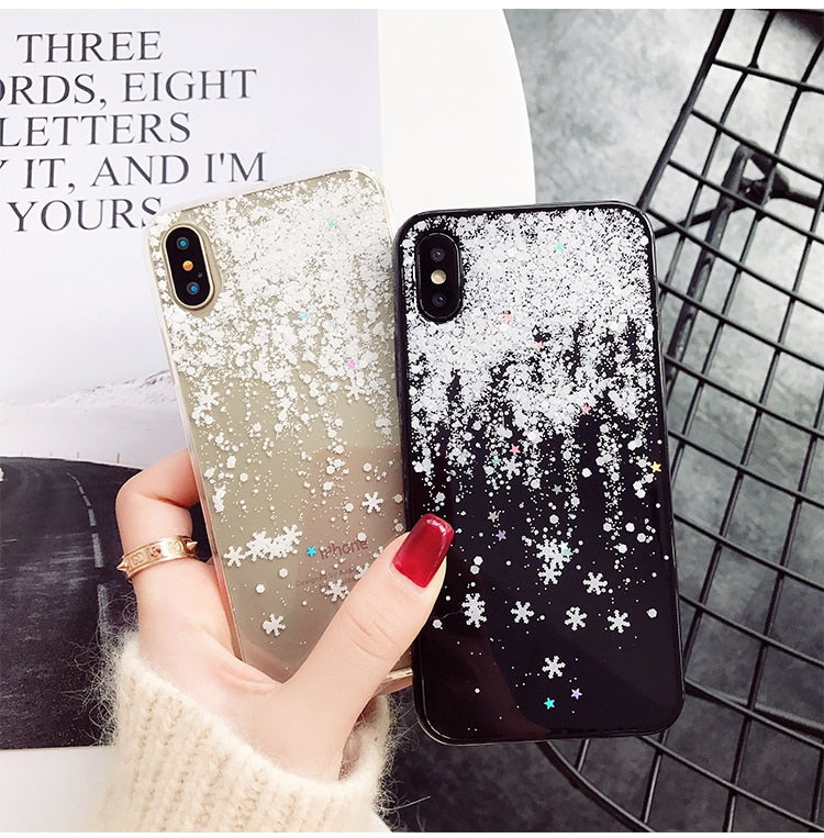 Christmas Bling Glitter Snow Flower Soft Silicone Cases For iPhone