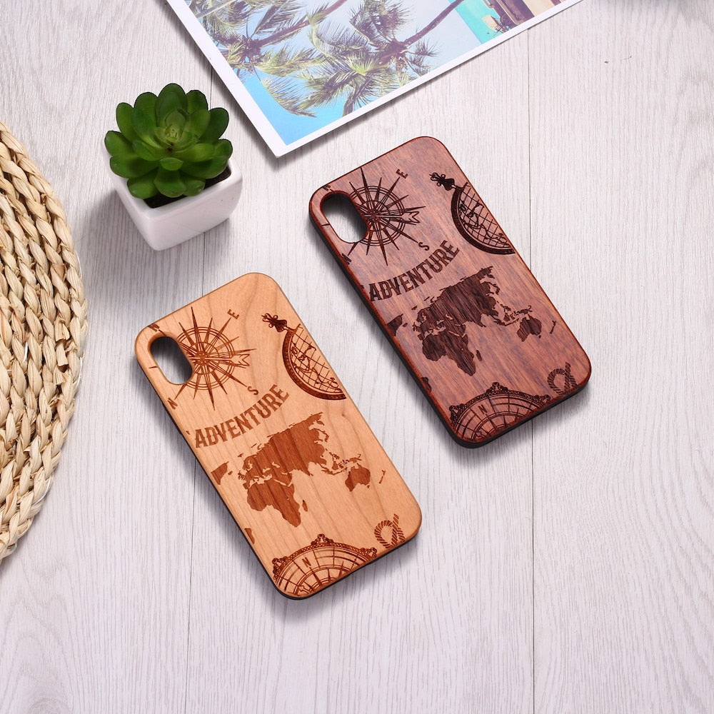 Engraved World Map Travel Wood iPhone Cases
