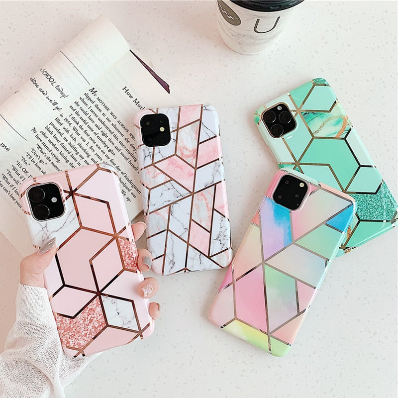 Geometric Marble Texture Phone Cases For iPhone