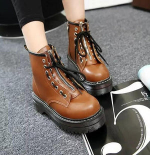 Fashion Shoes Women PU Leather Ankle Boots