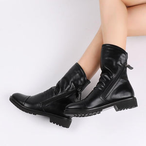 Women Fashion Vintage Ankle Boots Soft Leather Shoes