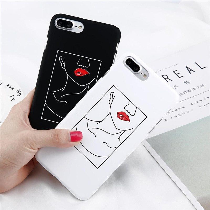 Red Lips Lady Neck Pattern iPhone Case