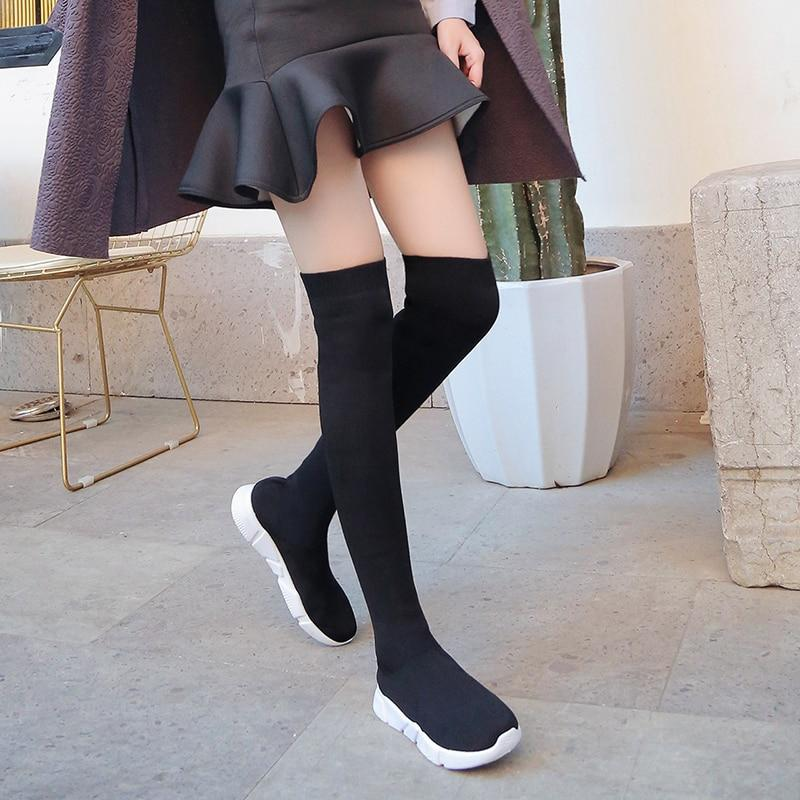 Socks Boots Women Over The Knee High Boots Autumn Winter Knitted Shoes Long Thigh High Elastic
