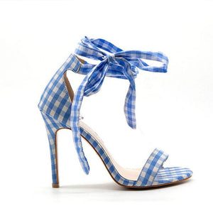 Scottish Plaid High Heels Sandals Women Ankle Strap Lace Up Bow Shoes
