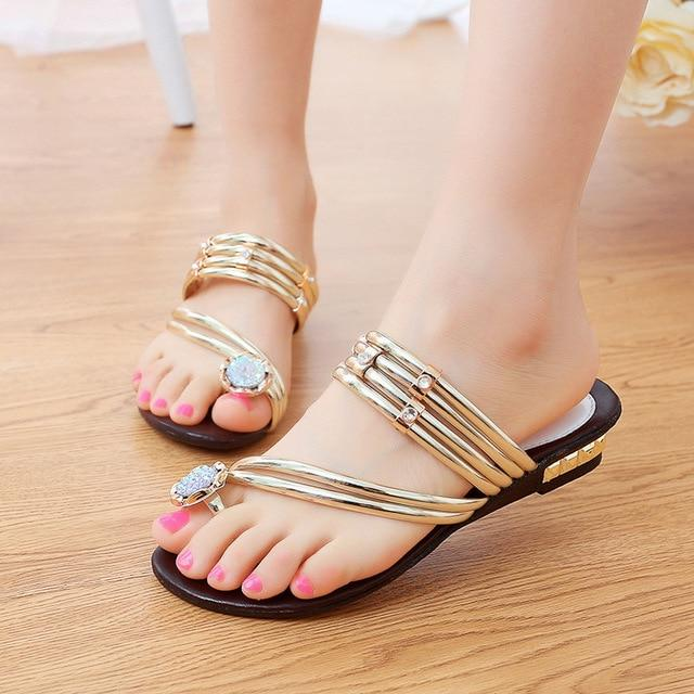 Fashion Rhinestone Women Sandals Shoes Clip Toe Shoes Woman