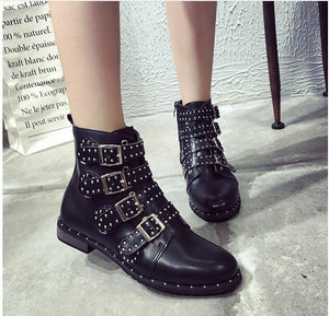 Rivets Booties Buckle Straps Black Ankle Women Boots Studded Motorcycle
