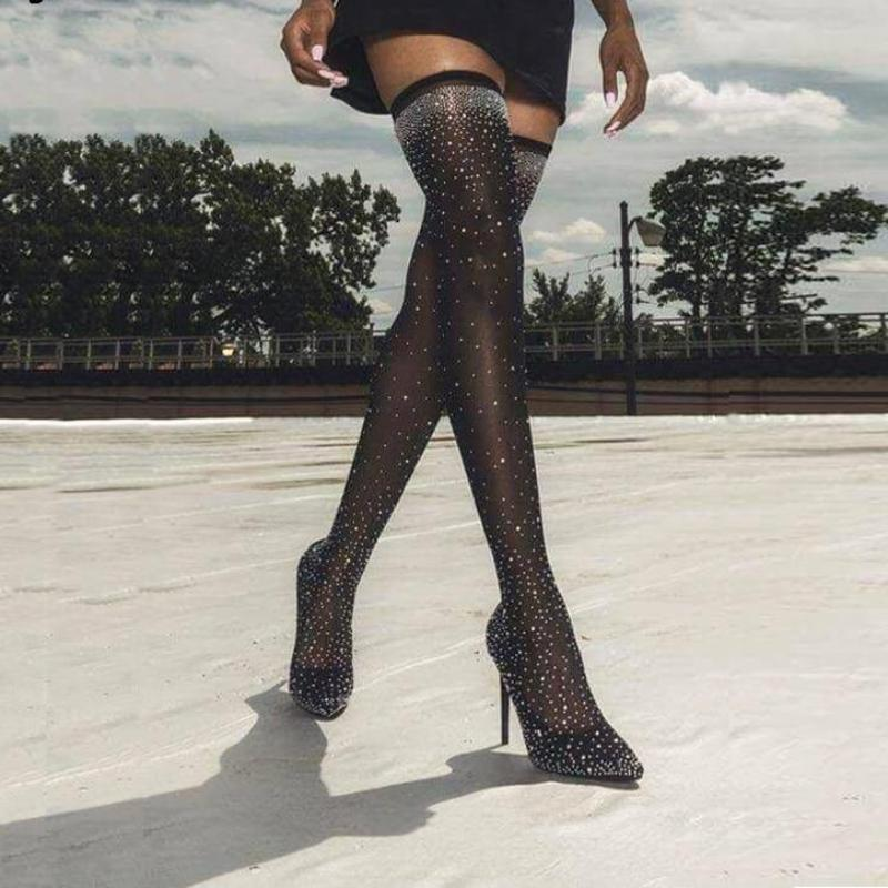 Crystal Stretch Fabric Sock Boots Pointy Toe Over the Knee Heel Thigh High Pointed Toe