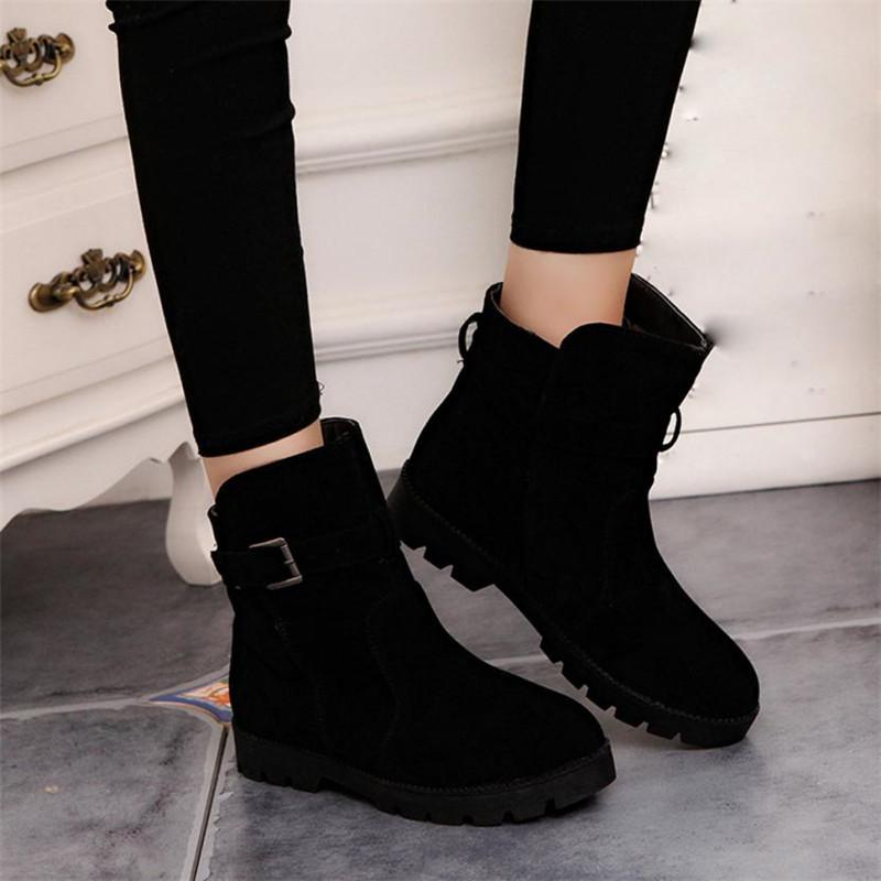 Women Warm Winter Snow Ankle Boots Buckle Martin Shoes