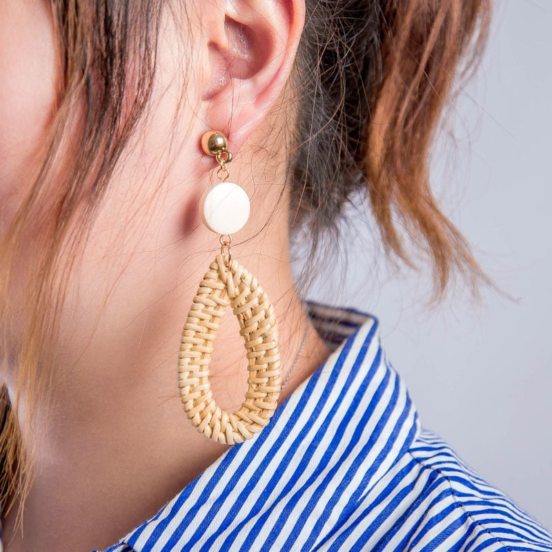 Oval Rattan Drop Earrings