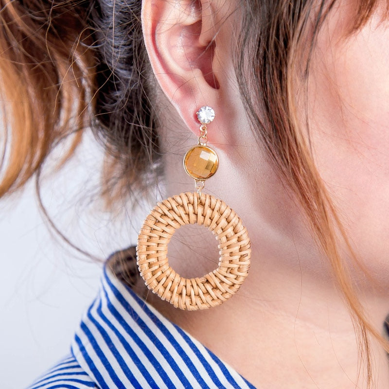 Round Rattan Drop Earrings
