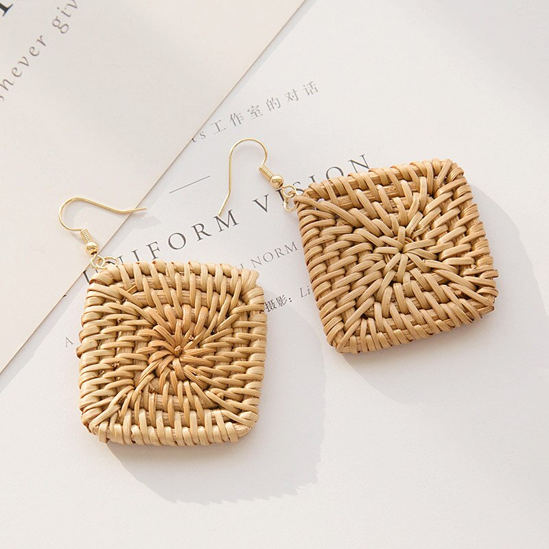 Square Rattan Drop Earrings