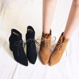 Women Ankle Boots Pointed Toe Shoes Lace Up Faux Suede Ankle Boots Shoes
