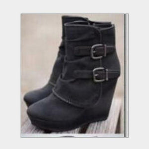 Ankle Boots High Heels Wedges Winter Buckle Shoes