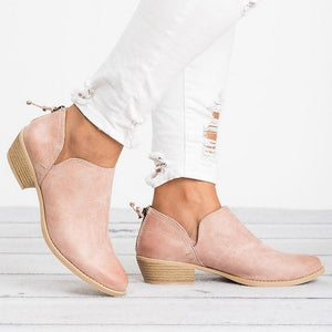 Women Boots Square Heel Slip On Shoes