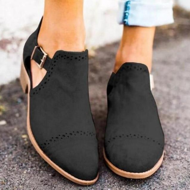 Ankle Boots Ladies Low Square Heels Pumps Matin Shoes