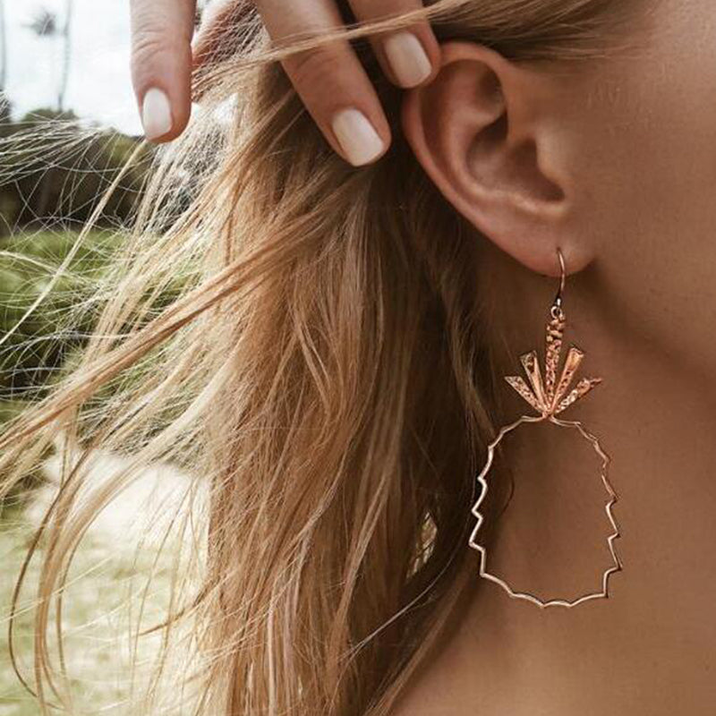Geometric Rosegold Pineapple Drop Earrings